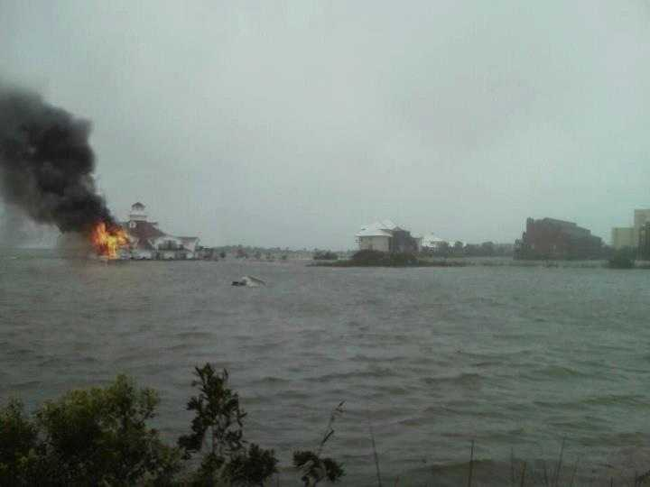 A photo shows what could be the Fager's Island gazebo on fire.