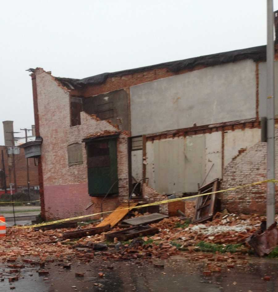 House collapses on Arunah Avenue in west Baltimore.