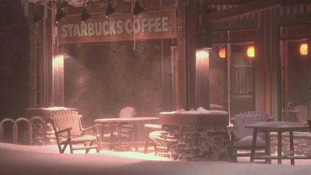 Snowshoe Mountain Resort in West Virginia gets pounded with more than a foot of snow during Hurricane Sandy.