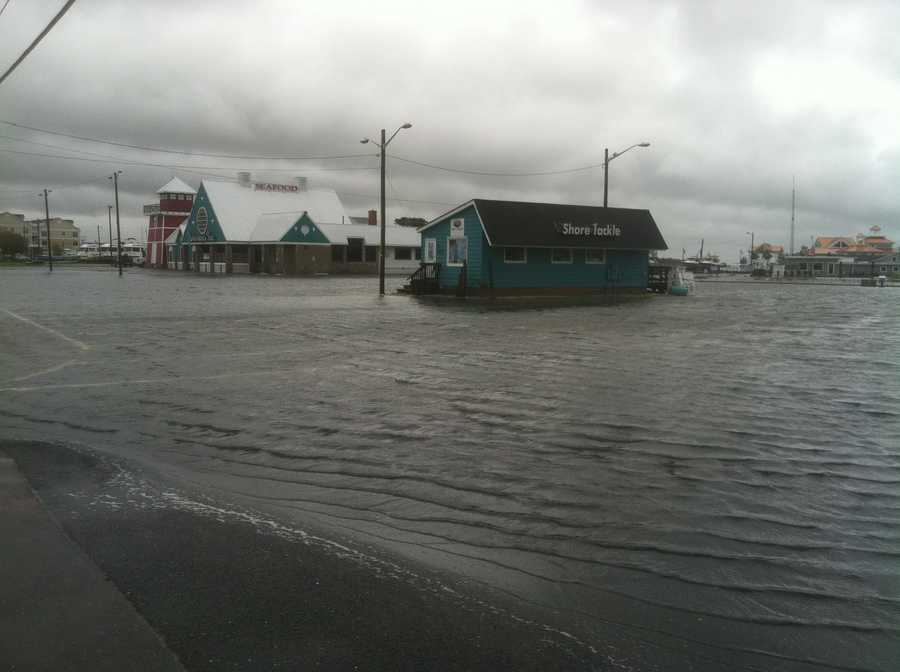 A business sees flooding in the Kent Narrows.