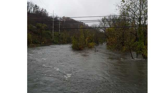 Flooding from Loch Raven Resevoir.