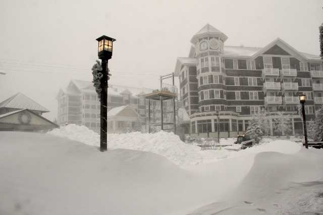 A resort spokesperson reported 19 inches of snow at the time of taking the photos, and winds that were at 60 mph during the storm.