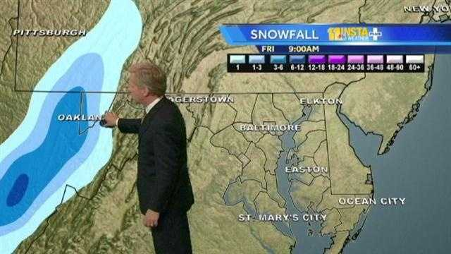 11 Insta-Weather PLUS Chief Meteorologist Tom Tasselmyer shows the futurecast model and how it's indicating an additional 1 to 2 feet of snow, to about 4 to 5 feet that fell in extreme western Maryland as a result of what was Hurricane Sandy.