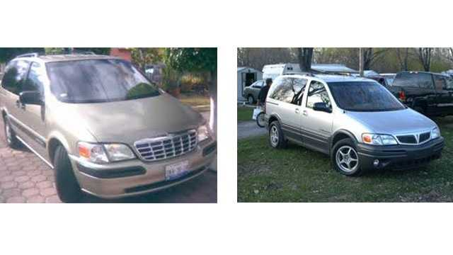 In connection with a hit-and-run accident, Anne Arundel County police are looking for possibly a 1997 to 2005 model year Chevrolet Venture (left) or Pontiac Montana (right) with damage to the right (passenger side) front turn signal, headlamp lens area and windshield.