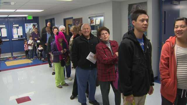Voters jumped into line early at Pasadena Elementary School in Anne Arundel County.