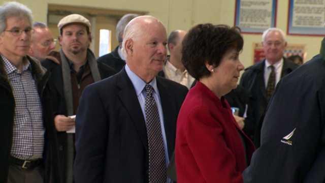 U.S. Sen. Ben Cardin casts his vote atFort Garrison Elementary School in Pikesville.