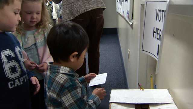 WBAL-TV 11 News Education Alert reporter Tim Tooten visits the Montessori School voting booth in Brooklandville, where even the students are casting ballots!