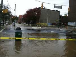 A huge water main broke early Wednesday morning in Baltimore City, causing water to flow through several busy streets.