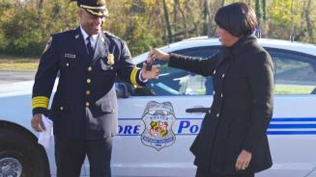 Mayor Stephanie Rawlings-Blake and Police Commissioner Anthony W. Batts deliver the first of 80 newly purchased 2013 police cruisers to officers of the Northeast District.