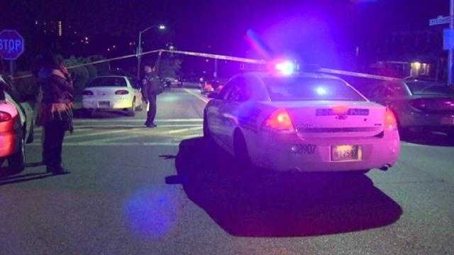 Baltimore police are looking for whoever shot and killed two men and critically injured their mother Tuesday night.