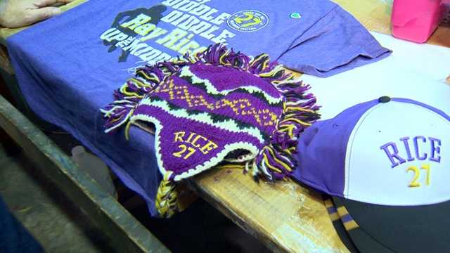 """By 2 p.m. Monday, he has new shirts printing, """"Hey diddle, diddle, Ray Rice up the middle."""""""