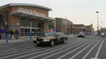 Maryland state troopers and 50 area children arrive in style at the Walmart in Rosedale on Saturday.