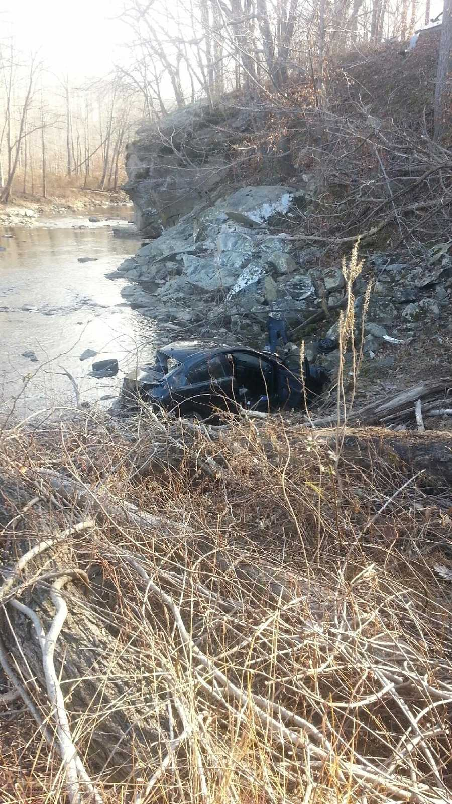 Fire crews in Harford County had to pull a man from his car after it went over an embankment and landed on its roof in a ravine. See how rescuers got to those in need.