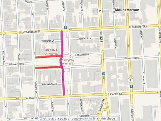 From 10 a.m.-11 p.m. -- North Charles Street on the west side of the Washington Monument from Centre to Madison streets (purple)