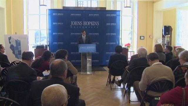 News of a big financial boost came Thursday for the communities around the Homewood campus of the Johns Hopkins University.