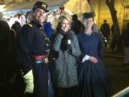 WBAL-TV 11 News' Donna Hamilton (center) with Ranger Vince (left) from Fort McHenry.