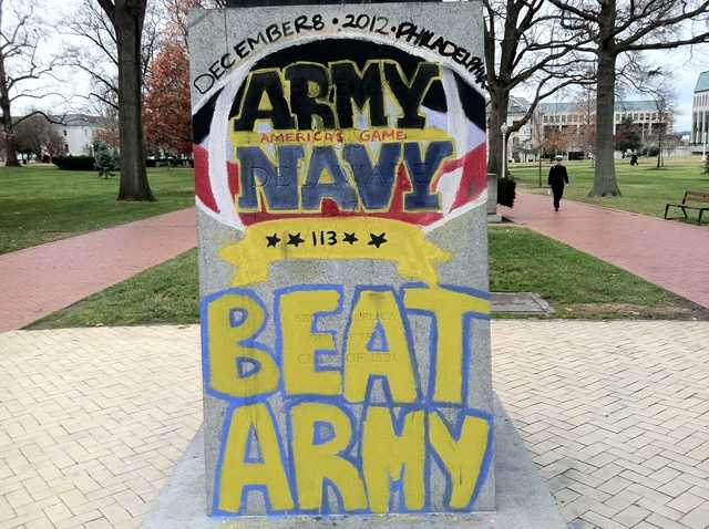Mids decorated the campus Friday ahead of the game in Philadelphia.