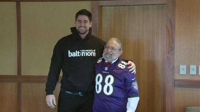 Dennis Pitta from the Baltimore Ravens met Professor Dennis Pitta from the University of Baltimore on Tuesday.