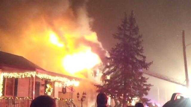 An 11 News viewer takes video of the two-alarm blaze that destroyed a home in Dundalk.