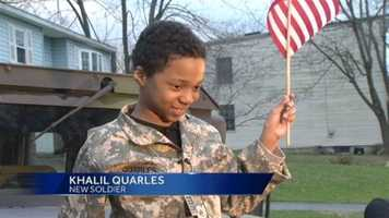 """When asked by 11 News reporter Kai Reed what he thought the most important thing about being a soldier was, Khalil responded, """"Protecting people.""""When asked if that was his dream, he smiled and said, """"Yes!"""""""