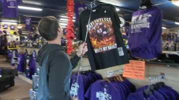 """""""I saw on Facebook first thing this morning that they would be open at 8:30 a.m. with these new shirts with Ray Lewis, so I wanted to be here to get it,"""" said fan Jeanie Shaw."""
