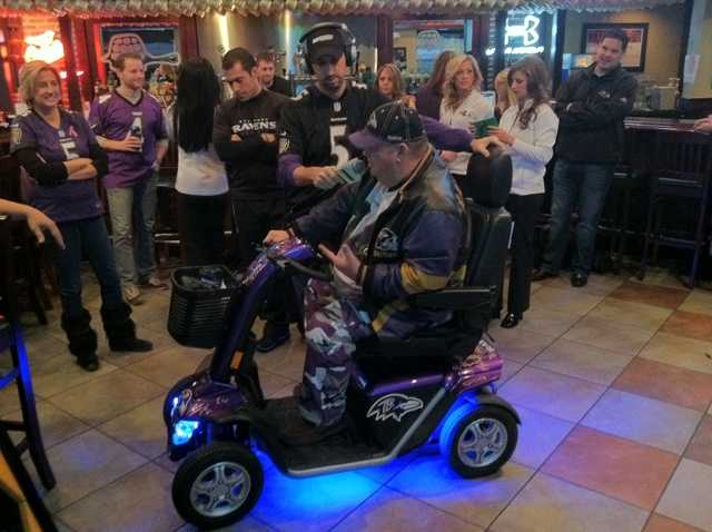 A scooter like no other. He has autographs on it from many of the Ravens. He's telling all about it on 98 Rock