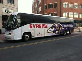 The Ravens Purple Caravan Bus traveling all over the area with Ravens cheerleaders, Poe, the Marching Ravens and 98 Rock!