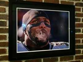 This photo of Ray Lewis will greet Baltimore Ravens fans at the Green Turtle in Locust Point.