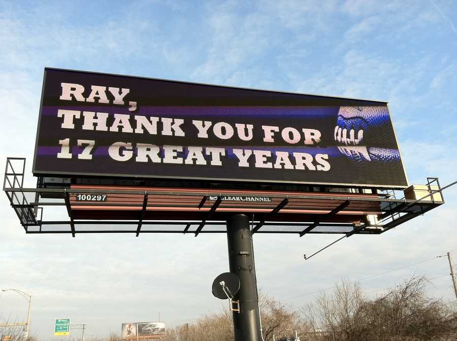 A special shout out to Ravens player Ray Lewis&#x3B; Image by WBAL-TV/Scott Wykoff