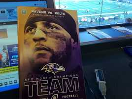 A view of the special Ray Lewis program ahead of Sunday's Baltimore Ravens wild card game. Image by WBAL-TV/Scott Wykoff