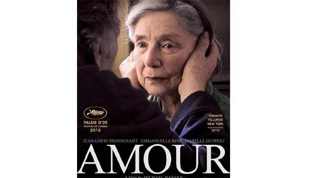 "Amour: A heartbreaking film that follows an old man caring for his dying wife. The performances from Emmanuelle Riva and Jean-Louis Trintignant are impeccable and the two have wonderful chemistry. As Anne's health slowly diminishes, it becomes all the more evident how strong Georges cares for his wife. Despite the sadness, the film's non-saccharine final moments are poetic and heartfelt. ""Amour"" beautifully defines the meaning of love, and shows what it means to love another. ""Amour"" is a film I will not soon forget. -- Connor Smith"
