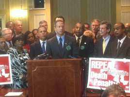 Gov. Martin O'Malley speaks during a news conference on repealing the death penalty.