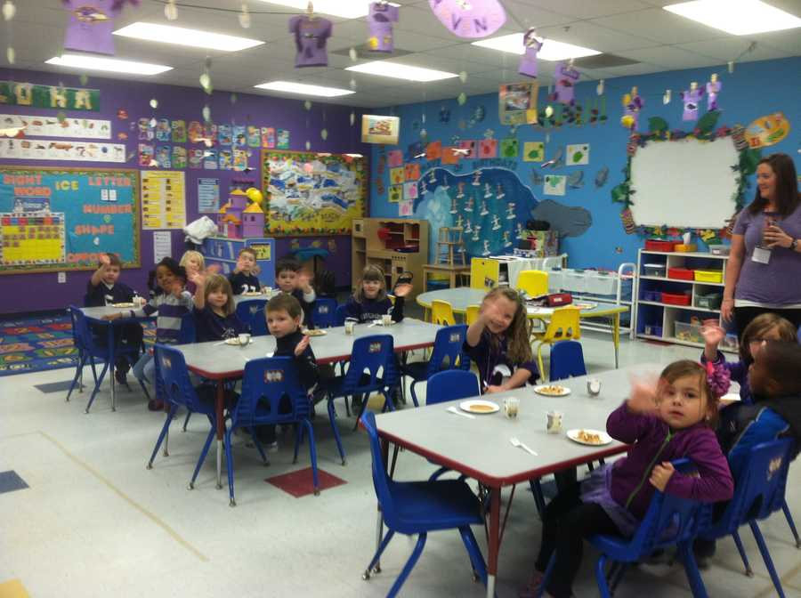 Some of the littlest Ravens fans show their spirit at Celebree Learning Center in Perry Hall.