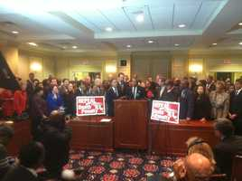 Gov. Martin O'Malley and others speak during a news conference on repealing the death penalty.