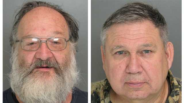 Police said John Heilmeier, 57, of Cumberland, Va. (left), and Richard Summers, 64, Waldorf, Md. (right), were arrested at the Gun and Knife Show in Timonium and charged with a firearms violation.