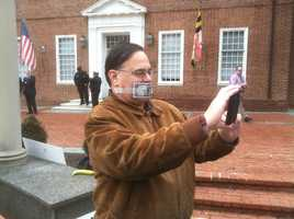 Jan. 17: Demonstrators carrying large banners -- some in costume depicting corporations and beleaguered billionaires -- converge on Lawyers Mall in Annapolis.