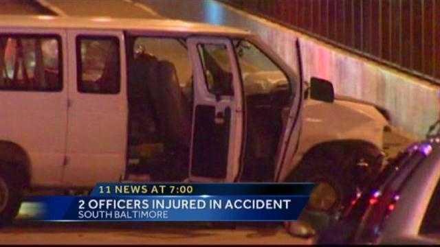 Officer van vs. car crash