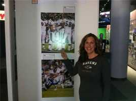 The Hall at Patriot Place sports museum with pictures of the Ravens in the Super Bowl!!