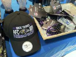 There is plenty of Ravens swag available for fans at BWI as they meet their flights to New England for the AFC title game.WBAL-TV/Scott Wykoff