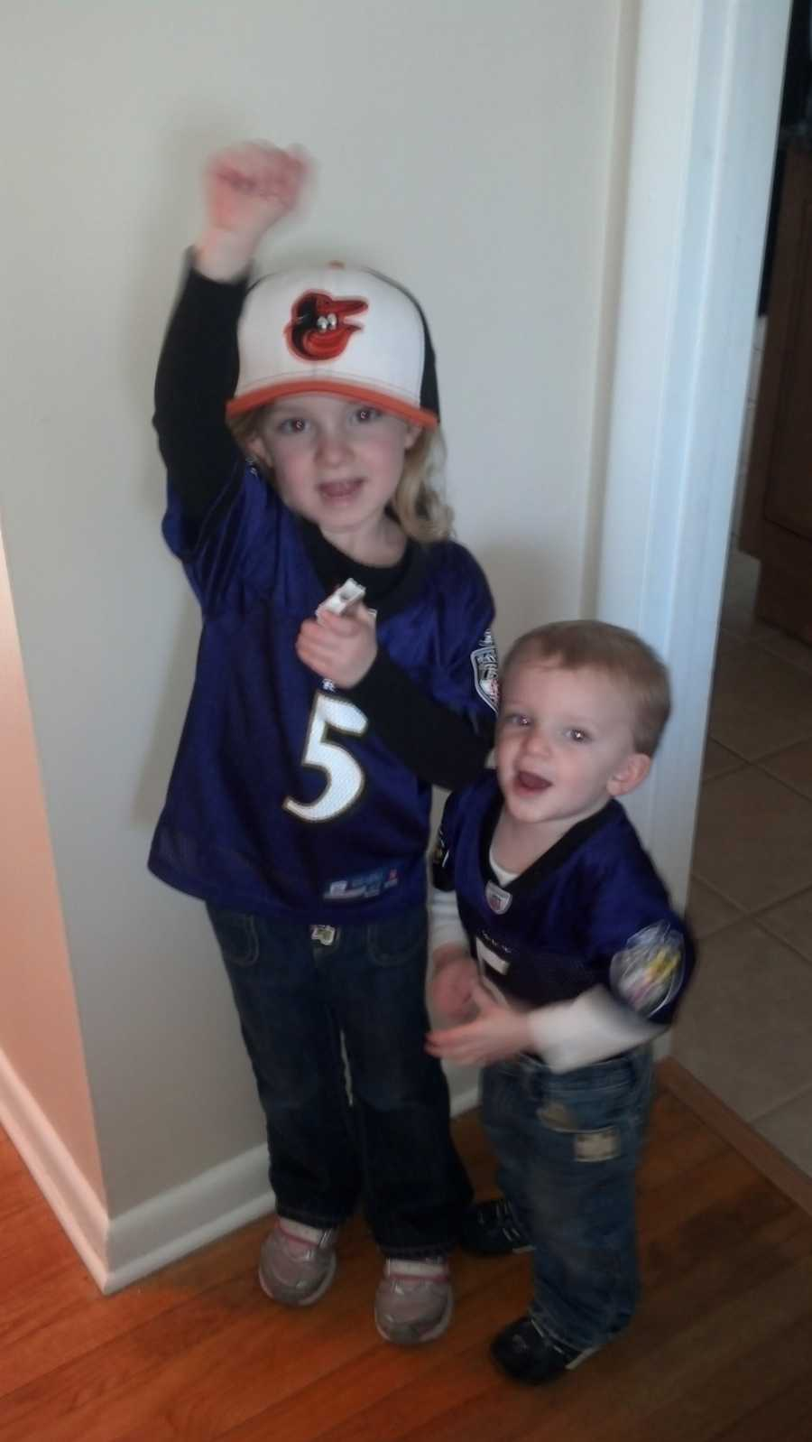 Anna and James are ready to root on the Ravens from Bel Air!