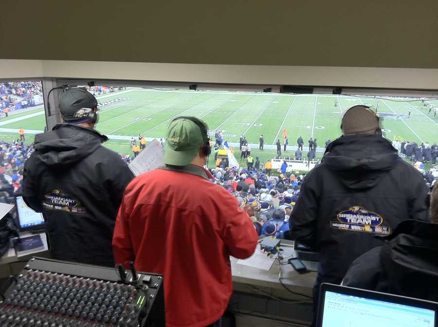 Gerry, Q and their spotter in the WBAL 98 Rick Broadcast Booth at Gillette Stadium.