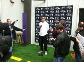 Joe Flacco at a press conference Monday.