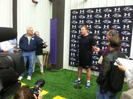 Matt Birk at a Ravens press conference Monday.