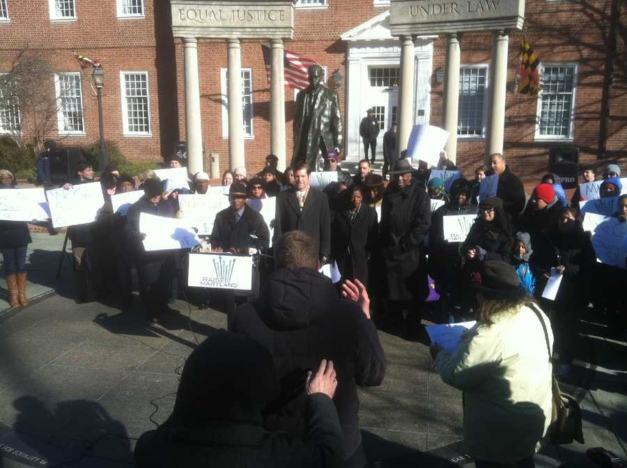 Members of the group Raise Maryland rally on Lawyer's Mall in Annapolis to increase the minimum wage in Maryland to $10 per hour.