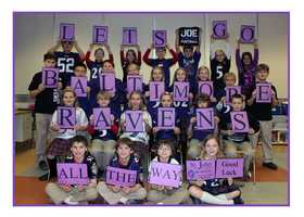 The students at St. John's the Evangelist in Severna Park root on the Ravens!