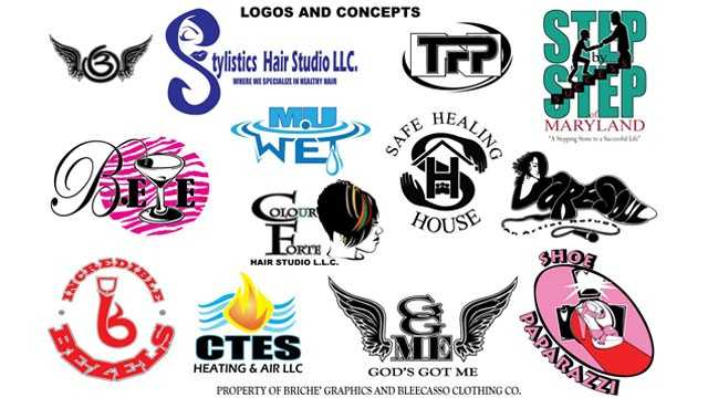 Lee shows off the various logos he designed for companies in the Baltimore region and beyond.