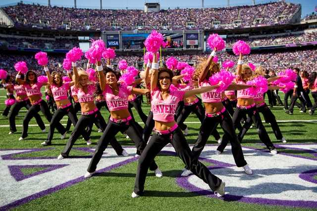 The cheerleading squad is the only NFL team with both a dance and co-ed stunt team.