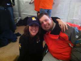 WBAL-TV 11 News reporter Jennifer Franciotti poses with Special Olympian Jimmy Myrick at the Polar Bear Plunge.