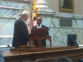 New Delegate Darren Swain was sworn in Monday to replace Tiffany Alston of Prince George's County.