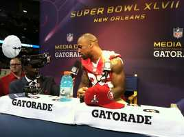 Players and journalists get an opportunity to interact during Media Day in the Superdome.